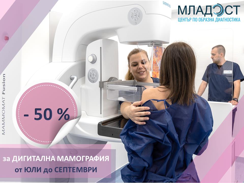 Тримесечна кампания с 50% отстъпка за дигитална мамография